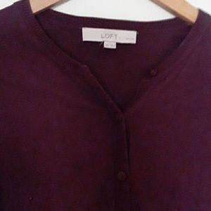 Loft Burgundy Button Front Cardigan XXS Petites